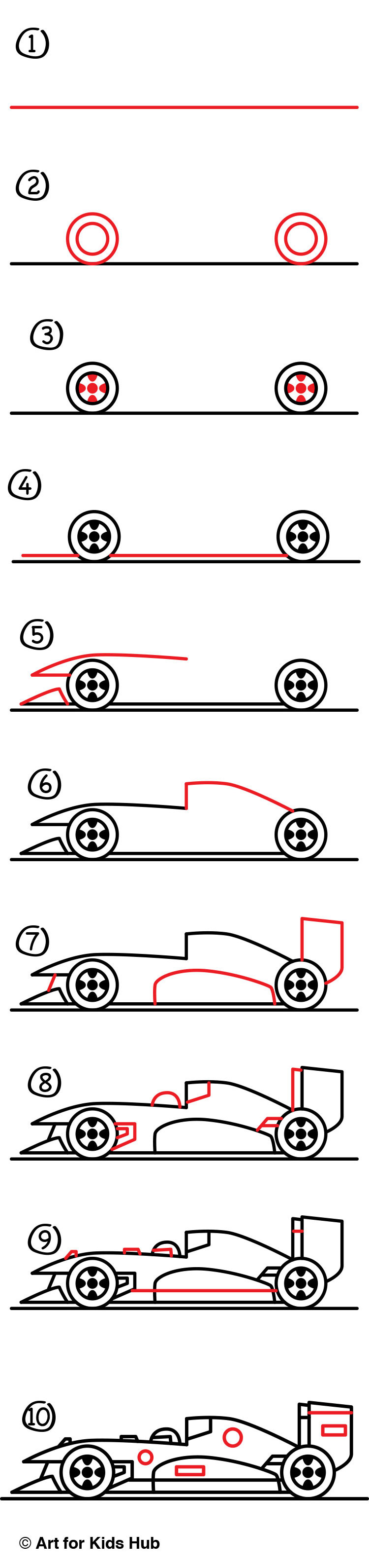 How To Draw A Race Car - Art For Kids Hub