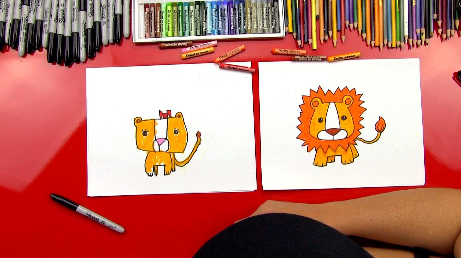 How To Draw A Cartoon Lion