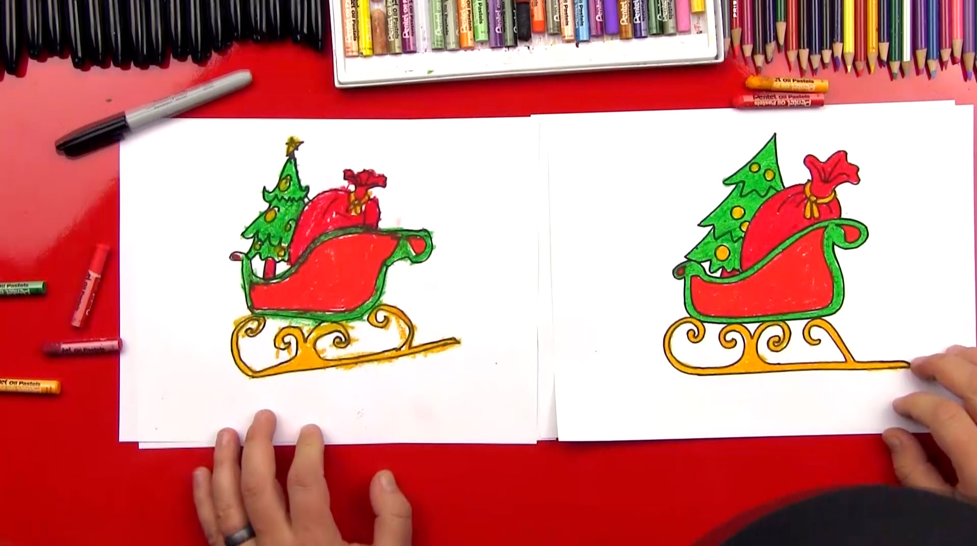 How To Draw Santas Sleigh Art For Kids Hub