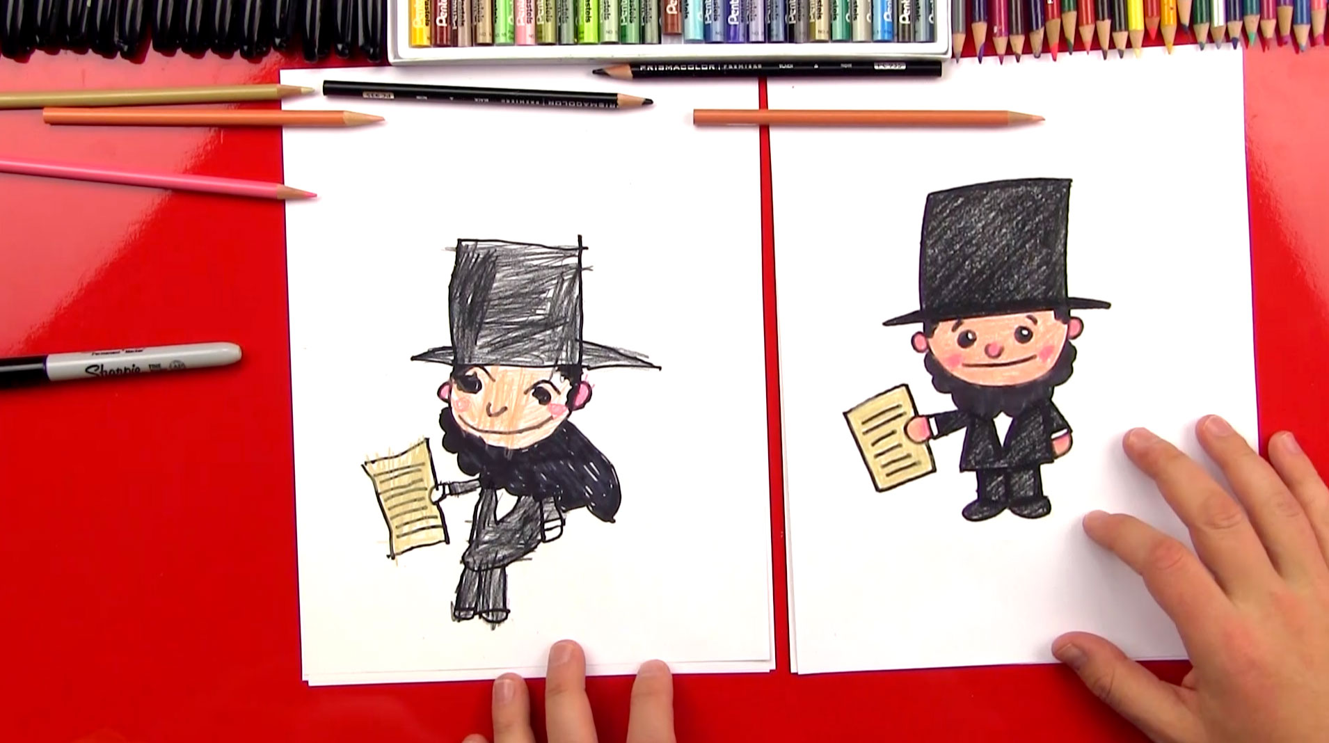 How To Draw A Cartoon Abraham Lincoln