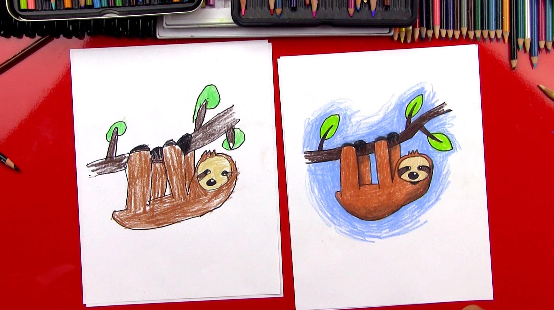 How To Draw A Cartoon Sloth Art For Kids Hub