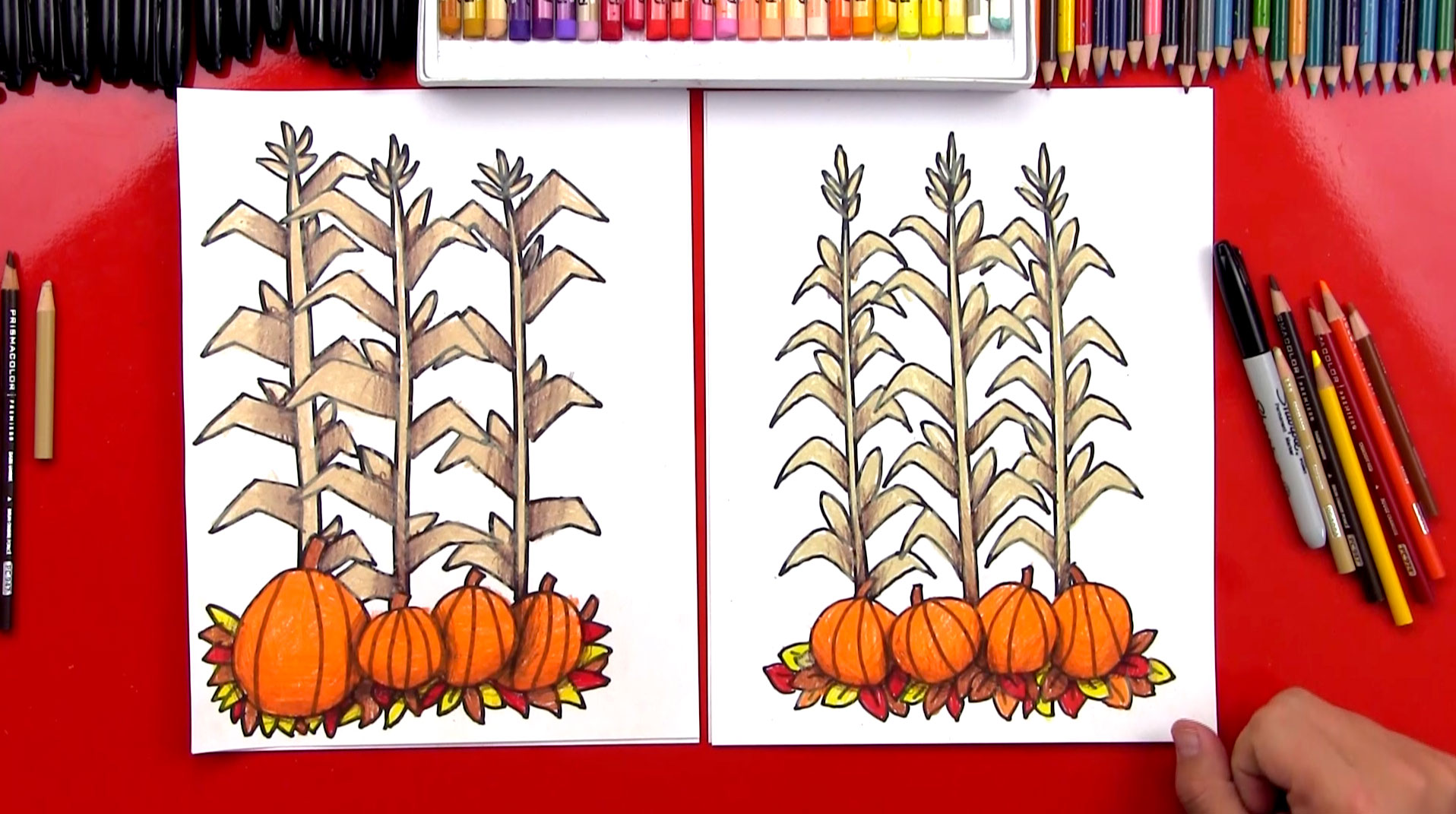 How To Draw Autumn Corn Stalks And Pumpkins Harvest