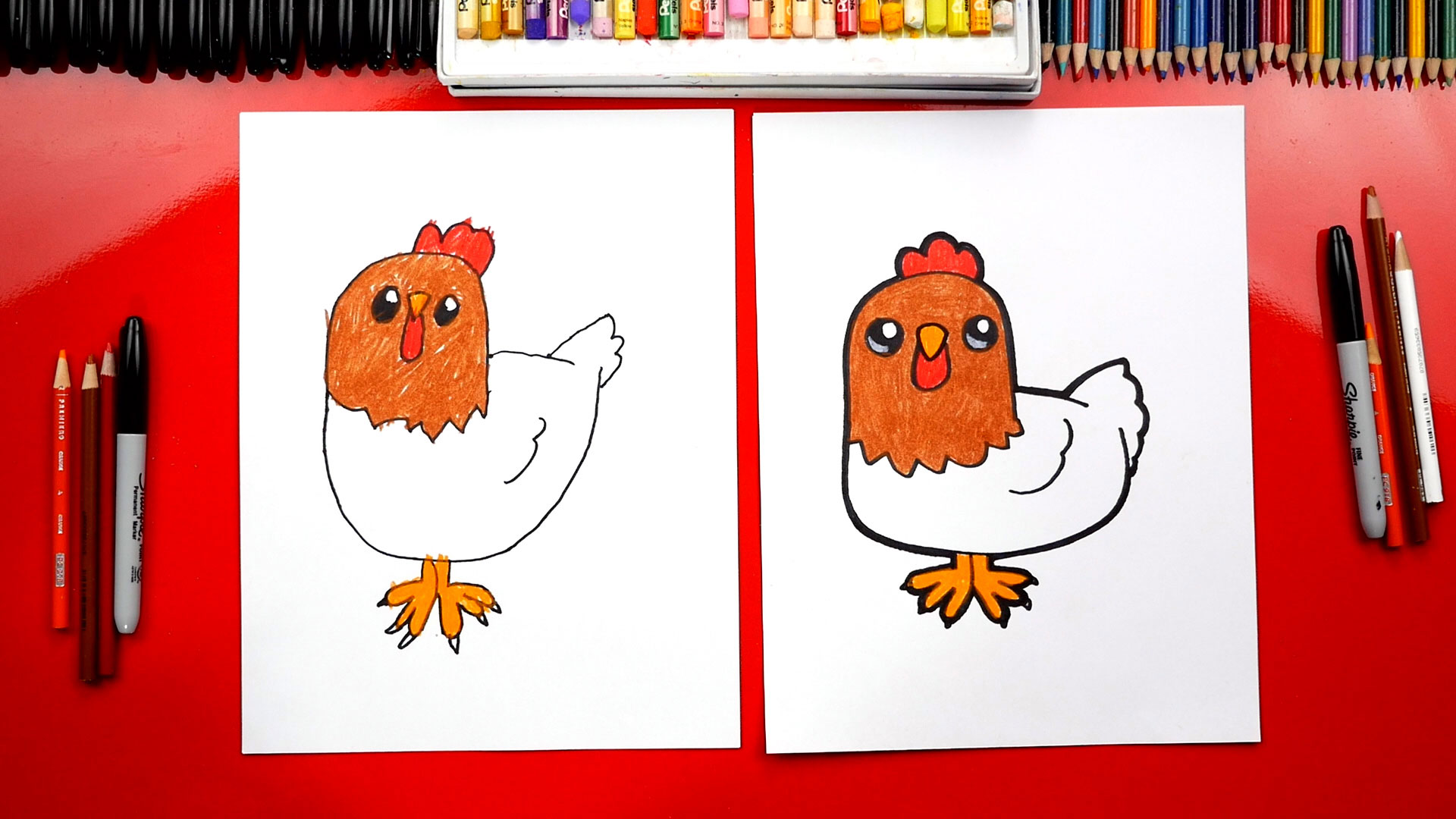 How To Draw A Cartoon Chicken