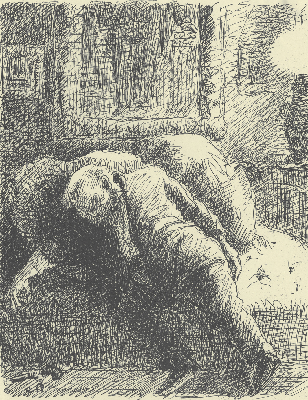 """Camille Pissarro, Le suicide du boursier (The Suicide of a Stockbroker), 1889–90, ink and pencil on paper, 12 1⁄4 × 9 1⁄2"""". From Turpitudes sociales (Social Disgraces), 1889–90."""