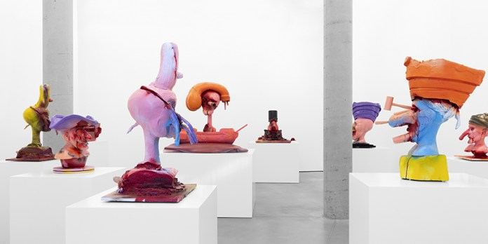 """View of """"Paul McCarthy: Painted Pirate Heads,"""" Peder Lund, Oslo, May 8 – September 4, 2021."""