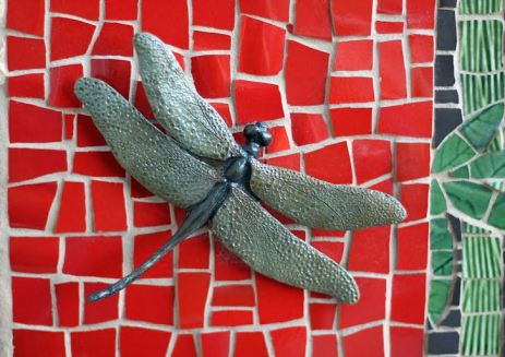 dragonfly bronze on mosaic
