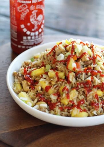 Spicy Teriyaki Chicken Fried Rice with Fresh Pineapple