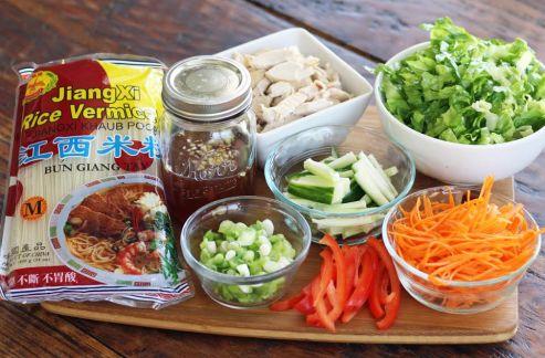 Chicken Rice Noodle Salad Ingredients