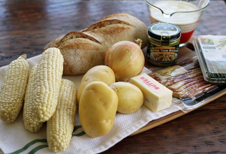 Grandma's Grandma's Corn Chowder with Potatoes and Bacon Ingredients | www.artfuldishes.com
