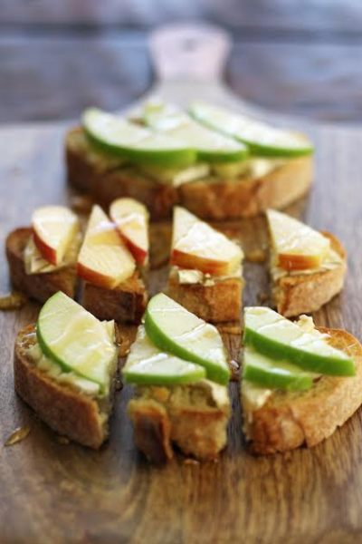 Apple Brie and Honey Bruschetta