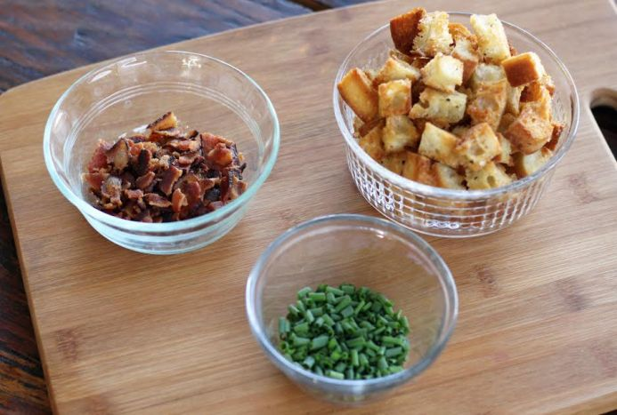 Toppings for Grandma's Corn Chowder - Bacon, Croutons and Chives | www.artfuldishes.com