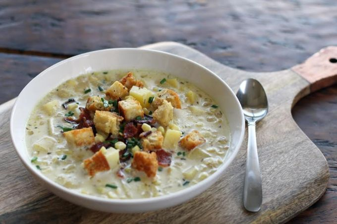 Grandma's Corn Chowder with Potaotes and Bacon with Croutons and Chives | www.artfuldishes.com