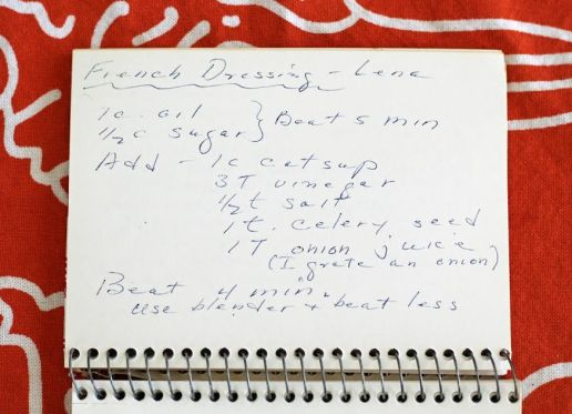Grandma's Handwritten French Dressing Recipe Card Artful Dishes