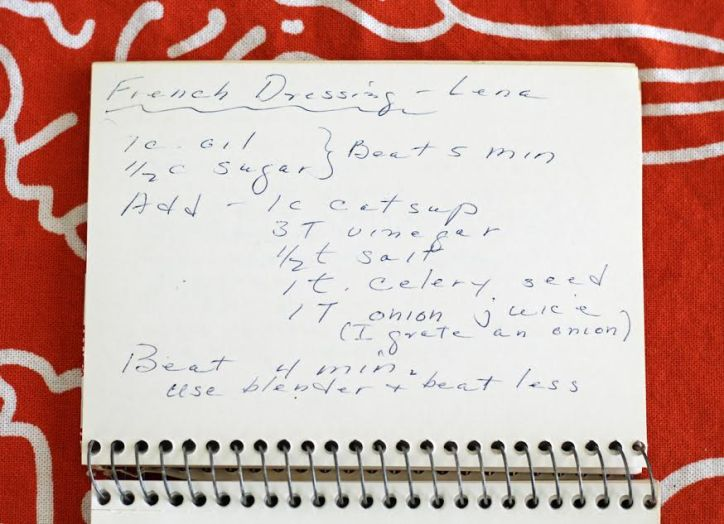 Grandma's Handwritten French Dressing Recipe Card