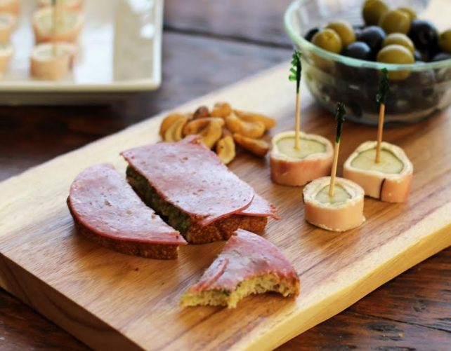 Appetizer Board with Salami Pesto Bruschetta Ham and Pickle Rolls | www.artfuldishes.com