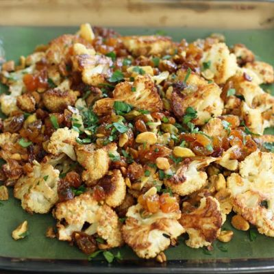 Roasted Cauliflower with Pistachios and Raisins
