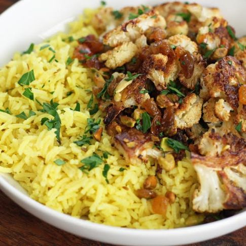 Roasted Cauliflower with Cumin Scented Rice Artful Dishes