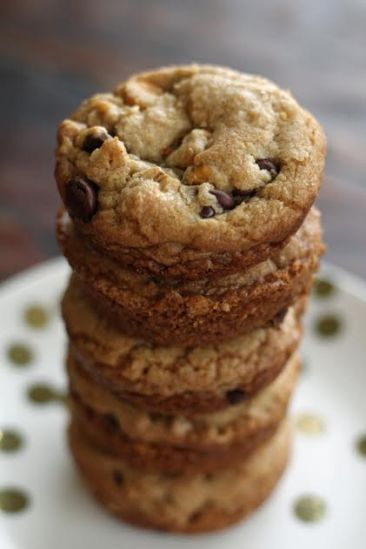 A Stack of Browned Butter Butterscotch Chocolate Chip Muffin Pan Cookies Artful Dishes