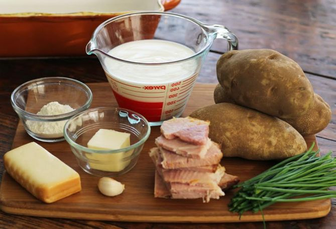 Ingredients for Smoky Scalloped Potatoes with Ham Artful Dishes