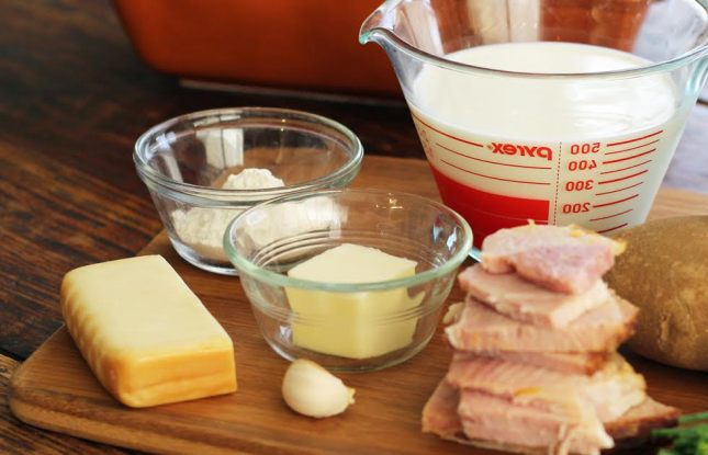 Ingredients for the sauce for Smoky Scalloped Potatoes with Ham Artful Dishes