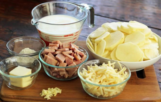 Prepped Ingredients for Smoky Scalloped Potatoes with Ham Artful Dishes