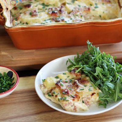 Smoky Scalloped Potatoes with Ham