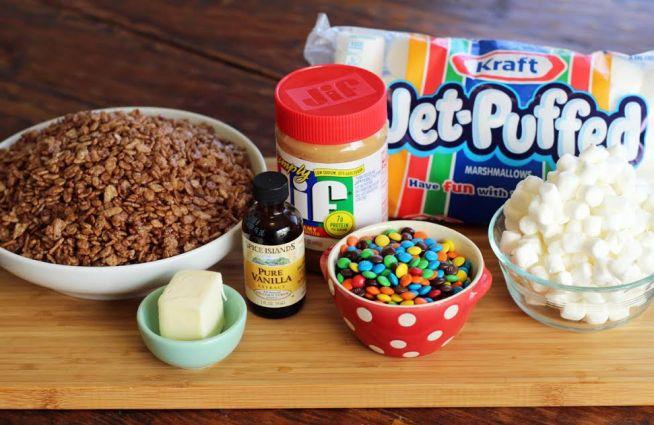 Peanut Butter Chocolate Krispie Treat Ingredients Cocoa Krispies Marshmallows Mini M&Ms
