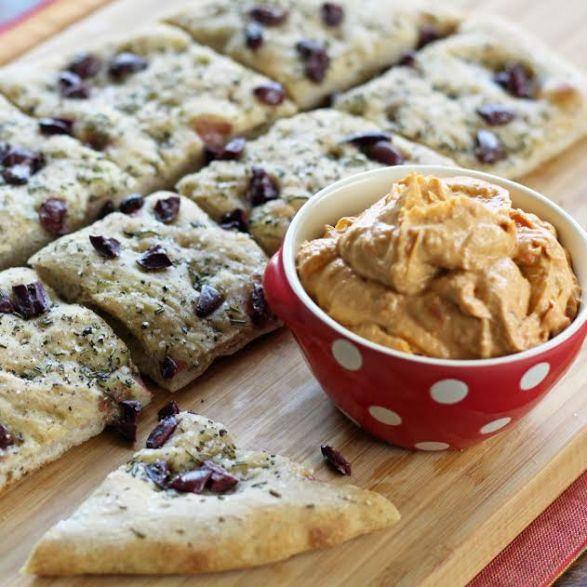 Three Ingredient Appetizer Focaccia with Olives and Rosemary with Hummus | artfuldishes.com