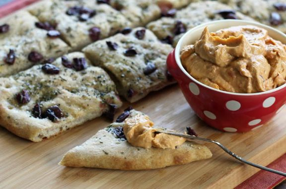 Focaccia with Olives and Rosemary with Hummus | artfuldishes.com