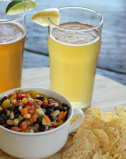 Tequila Shandy Beer Cocktail with Cowboy Caviar Dip and Chips | www.artfuldishes.com