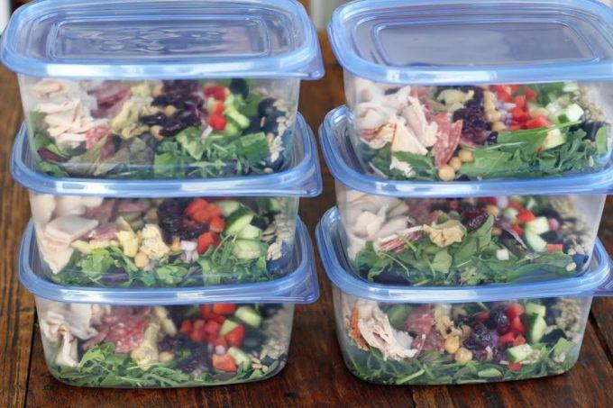 Weekly Food Prep for Salads - Italian Chopped Salads To Go! | artfuldishes.com
