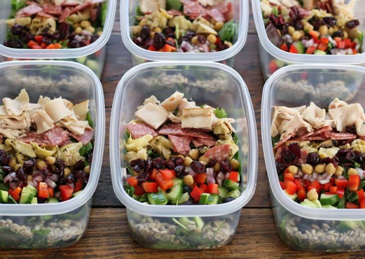 Meal Planning - Italian Chopped Salads Adding All the Ingredients | artfuldishes.com