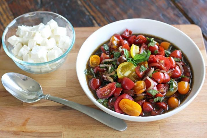 Feta Cheese to top the Marinated Tomato Salad with Basil and Balsamic   artfuldishes.com