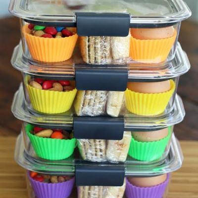 Protein Box Lunches Ready for the Week with Fruit Nuts Cheese Crackers and Hard Boiled Egg   artfuldishes.com