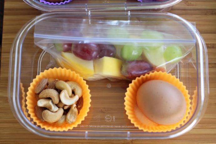 Nuts and a Hard Boiled Egg in Silicon Cups for Protein Box Lunches | artfuldishes.com