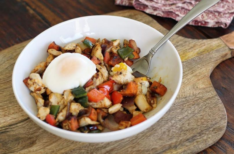 Chicken and Sweet Potato Hash with Oven Poached Eggs | artfuldishes.com