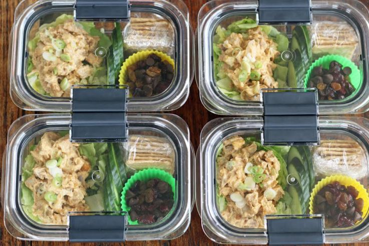 Weekly Meal Prep Chicken Salad Protein Boxes | artfuldishes.com