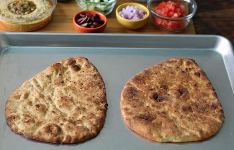 Toasted Naan for Greek Salad Naan Pizzas   www.artfuldishes.com