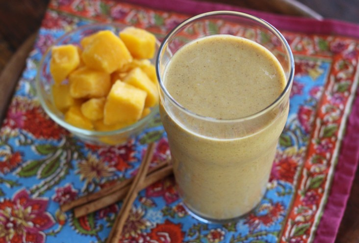 A Mango Chai Protein Smoothie with Almond Milk Flaxseed Turmeric and Cinnamon | www.artfuldishes.com