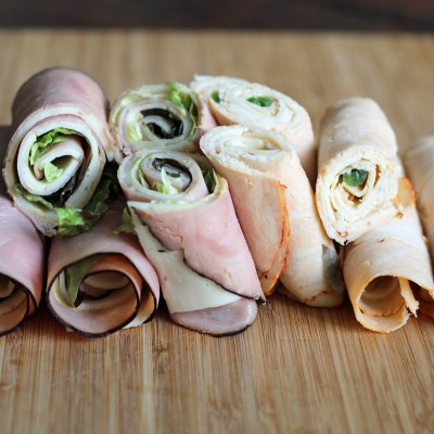The finished wraps. Ham and cheese, and Buffalo chicken and pepperjack cheese