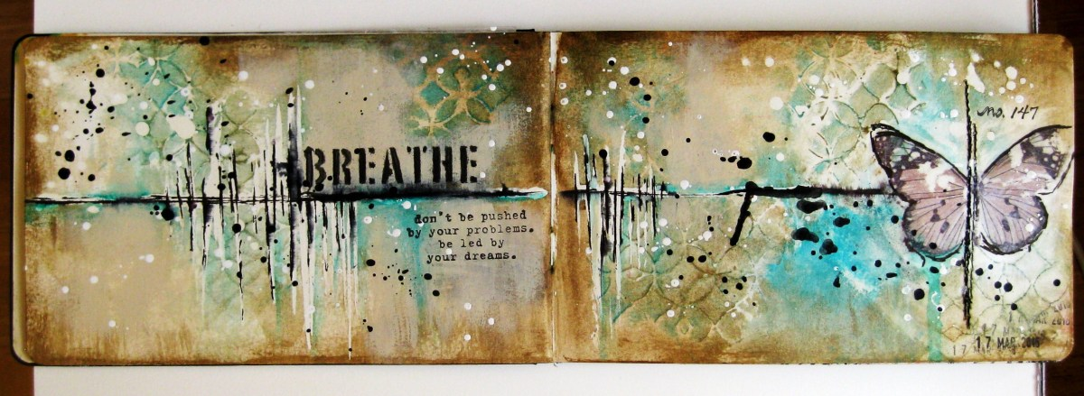 Art journal page - Breathe