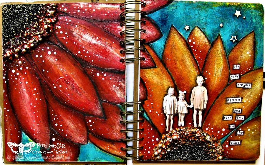 """Let your dreams bloom…"" – Art journal page for Finnabair CT"