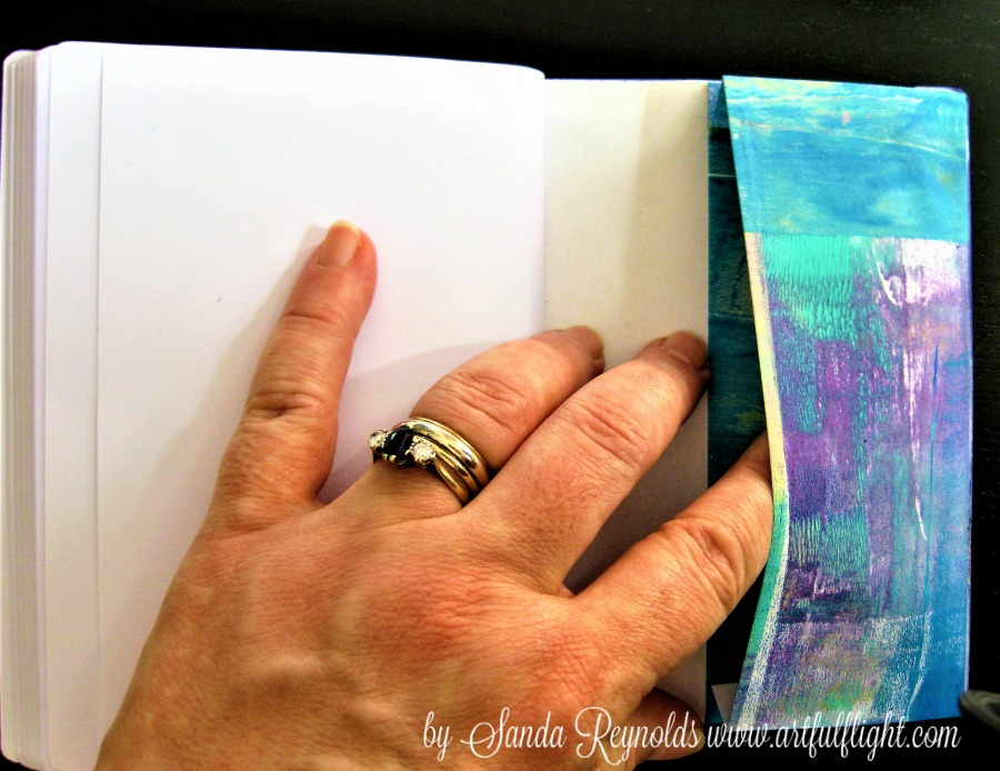 Notebooks with an original mixed media gelli printed art collage cover