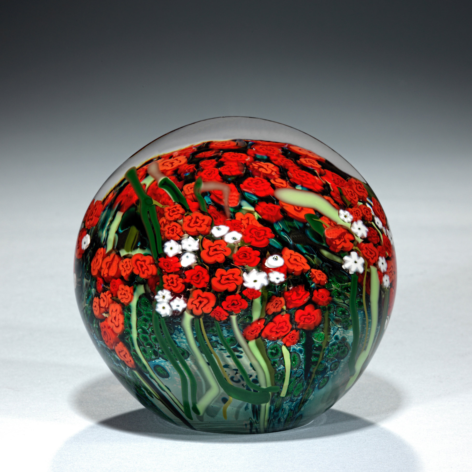 Large Red Rose And Babys Breath Bouquet Paperweight By Shawn Messenger Art Glass Paperweight