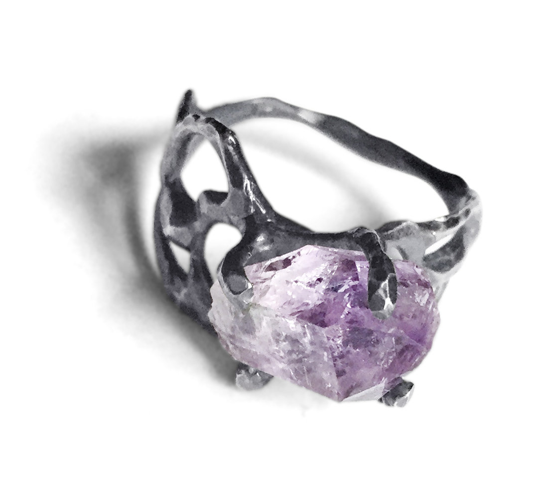 Wide Band Mineral Ring By Aimee Petkus Silver Amp Stone