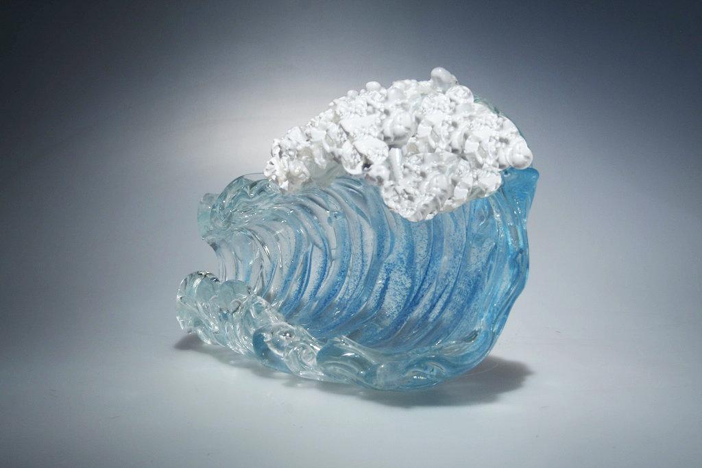 Aqua Barrel Wave By Ian Whitt Art Glass Sculpture