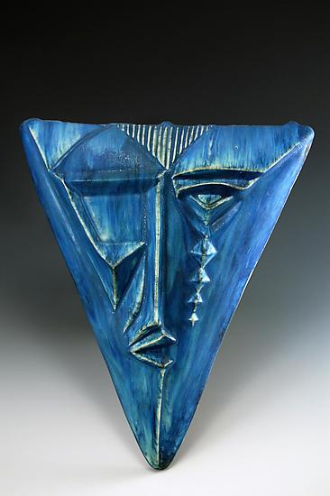 Triangle Mask By Daniel Slack Ceramic Wall Sculpture
