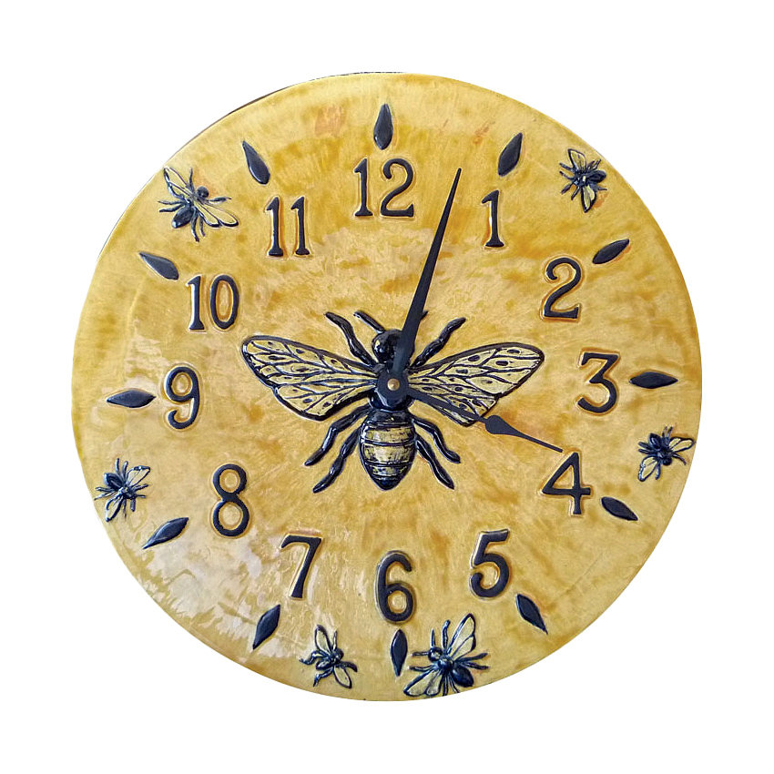 Honeybee Wall Clock In Light Yellow Glaze By Beth Sherman Ceramic Clock Artful Home