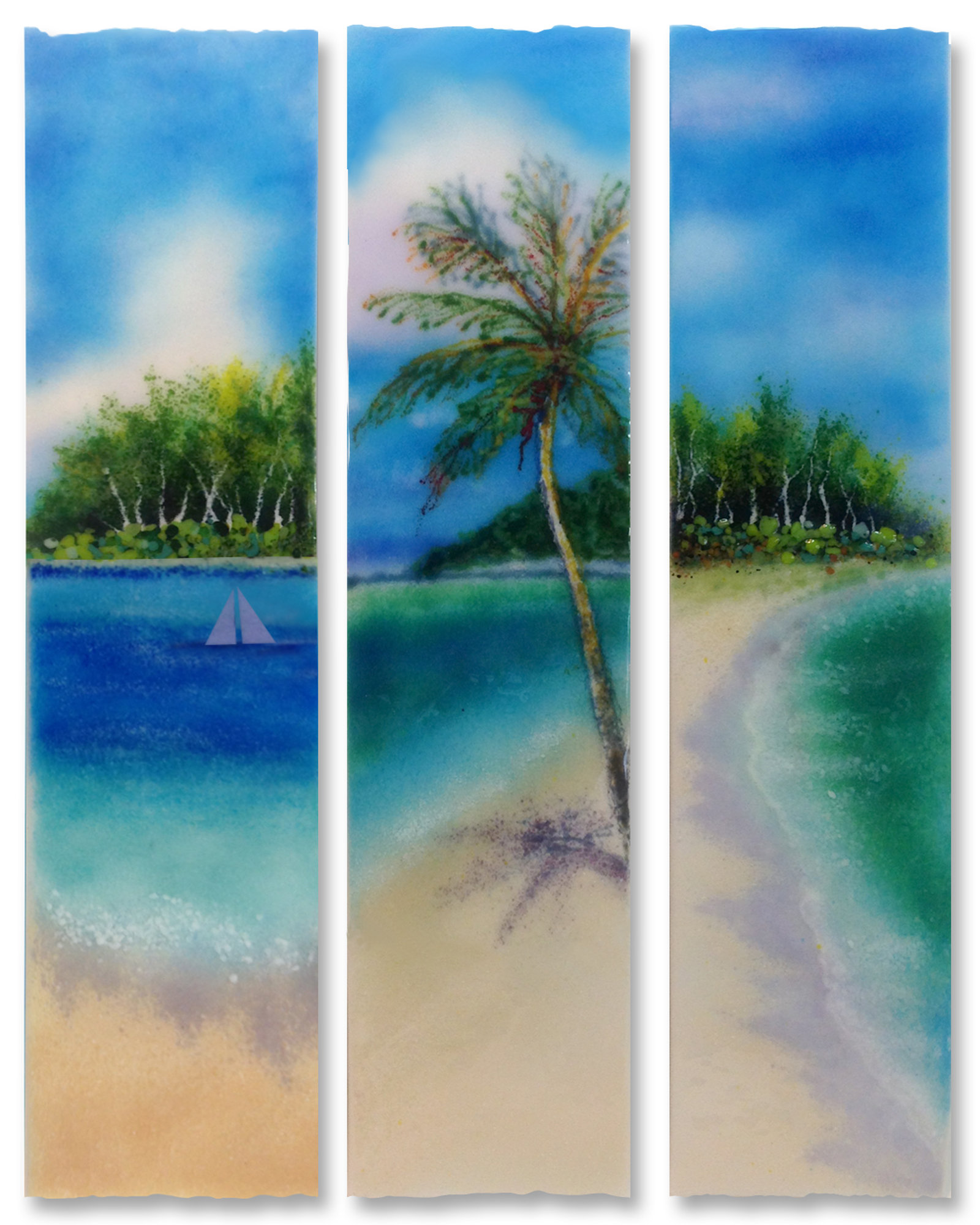 Ocean View Stix By Anne Nye Art Glass Wall Sculpture