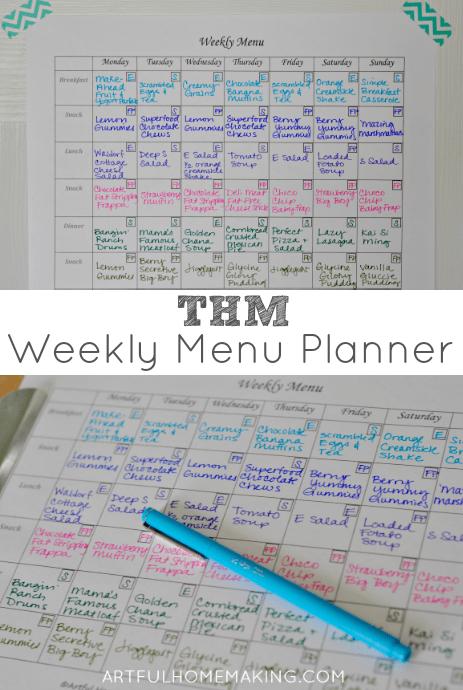 trim healthy mama menu planner
